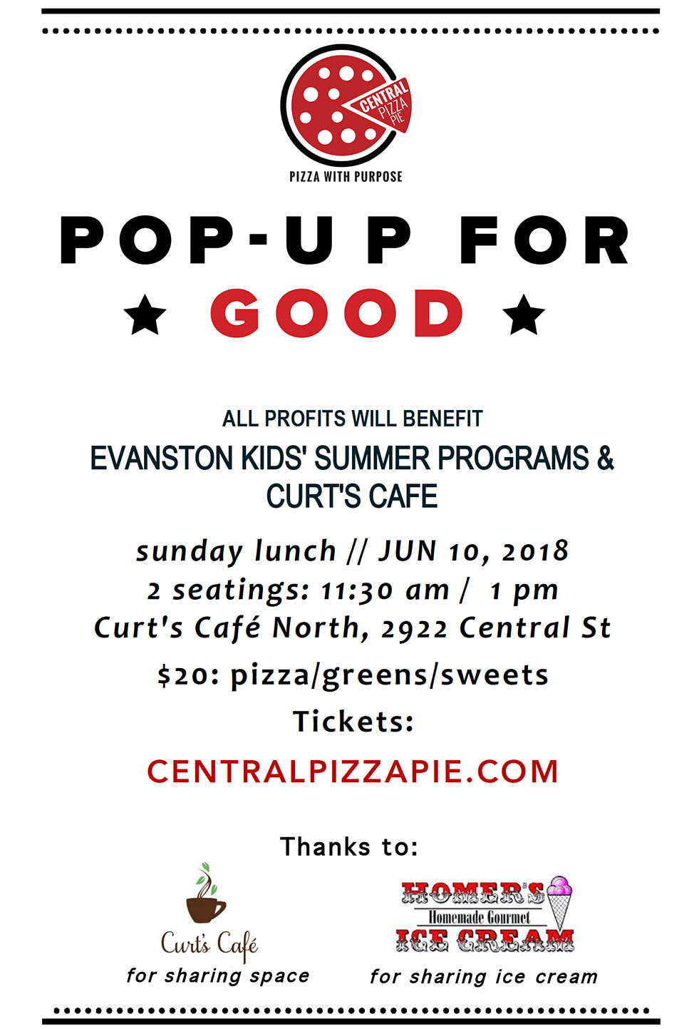 Pop-Up for Good @ Central Pizza Pie