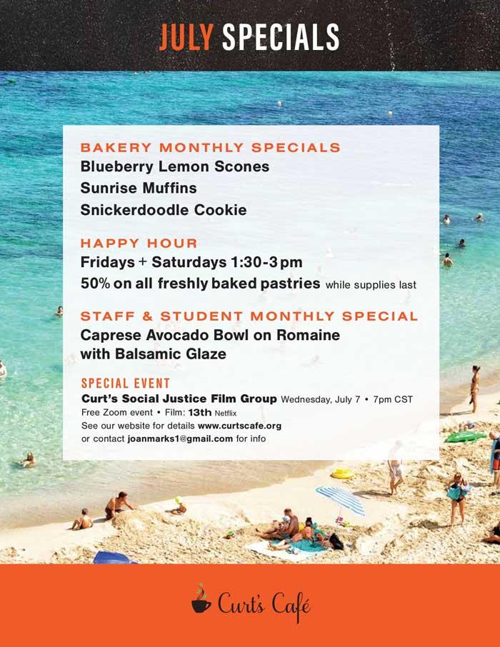 July Specials menu